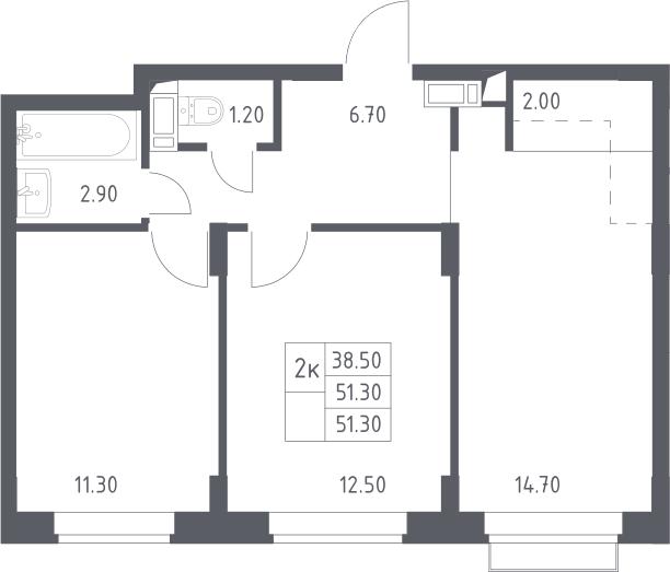 3Е-комнатная квартира, 51.3 м², 14 этаж – Планировка
