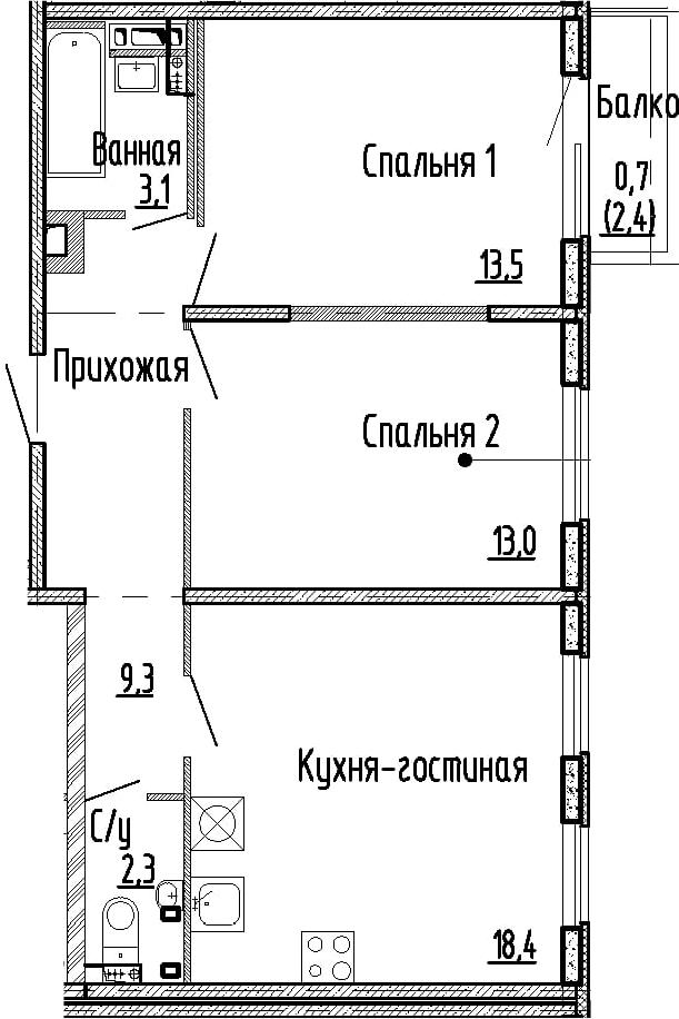 3Е-комнатная, 59.6 м²– 2