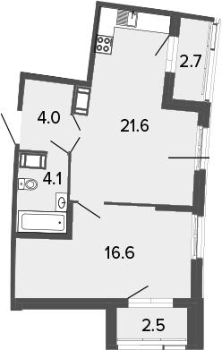 2Е-к.кв, 46.3 м², 12 этаж