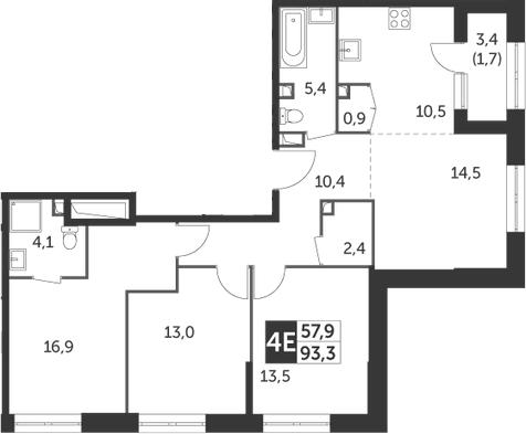 4Е-комнатная, 93.3 м²– 2
