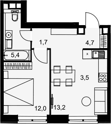 2Е-к.кв, 40.5 м², 10 этаж