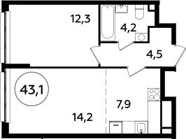 2Е-комнатная, 43.1 м²– 2