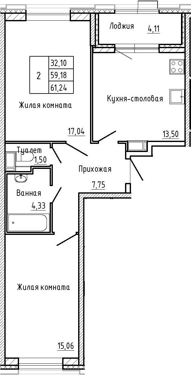 2-к.кв, 61.24 м², 2 этаж