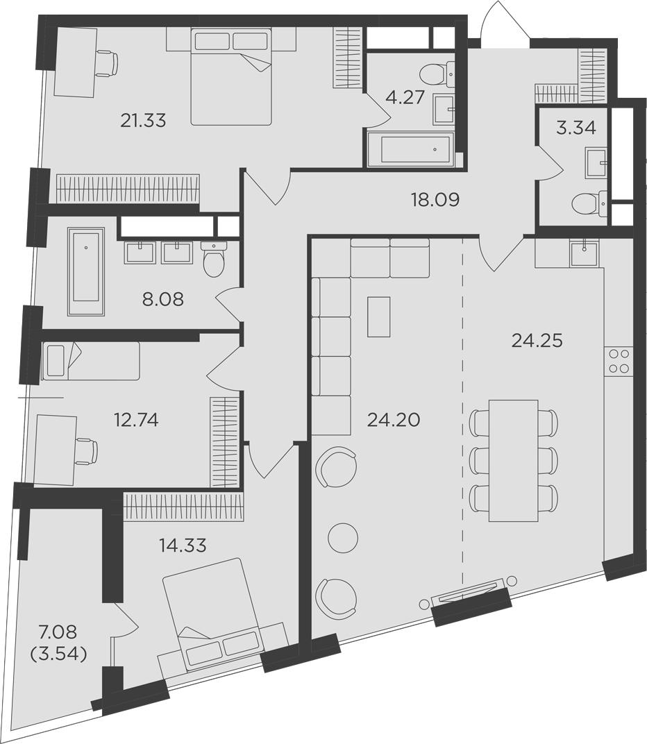 4-к.кв, 134.17 м²