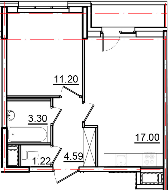 2Е-к.кв, 38.85 м², от 4 этажа
