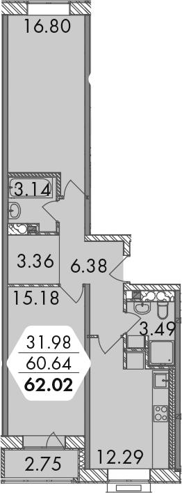 3-к.кв (евро), 63.39 м²