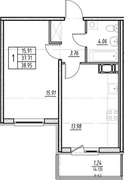1-к.кв, 41.84 м²
