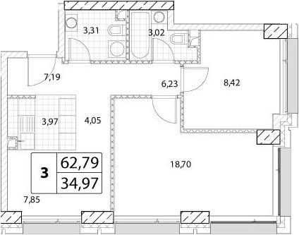 3-к.кв (евро), 62.79 м²