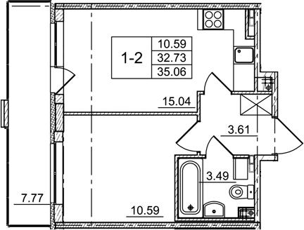 2Е-к.кв, 32.73 м², 3 этаж