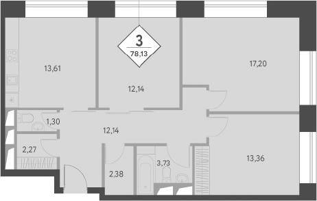 3-к.кв, 78.64 м²