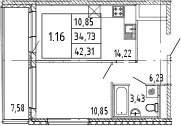 2Е-комнатная, 38.52 м²– 2