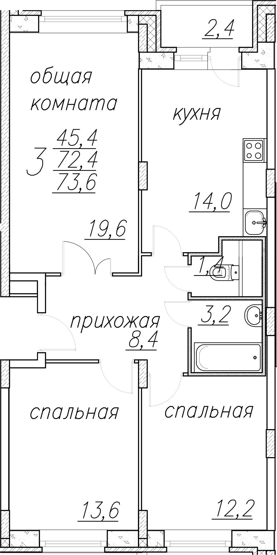 3-к.кв, 74.8 м²