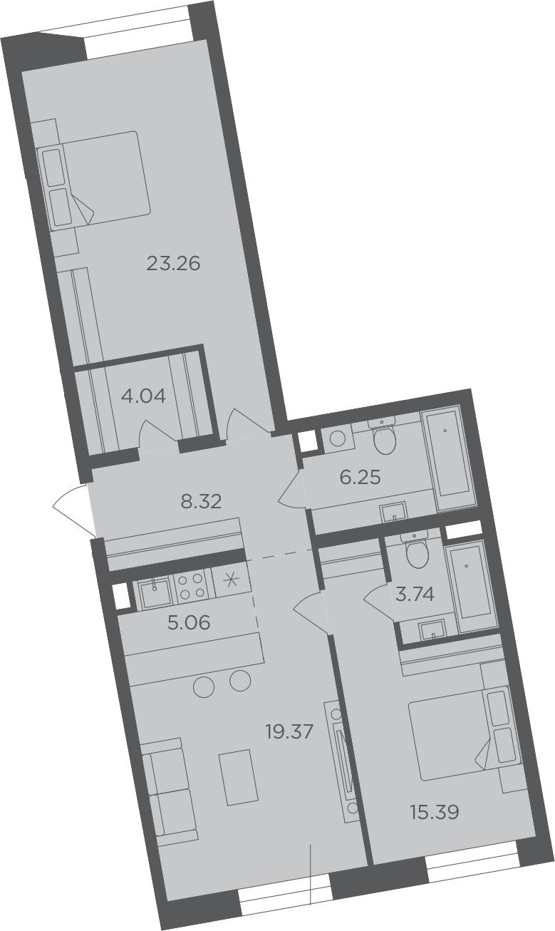 3Е-к.кв, 85.43 м², 7 этаж