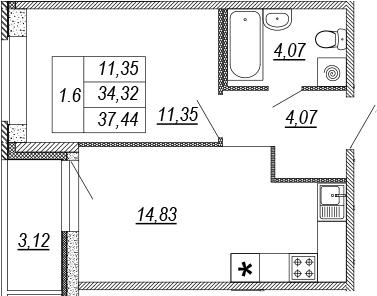 1-к.кв, 34.32 м², 1 этаж