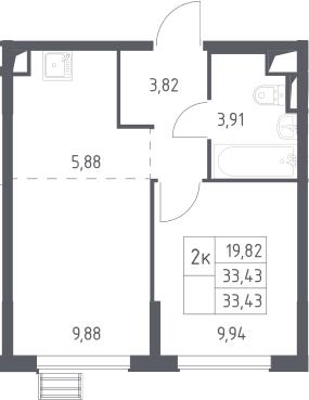 2Е-комнатная, 33.43 м²– 2