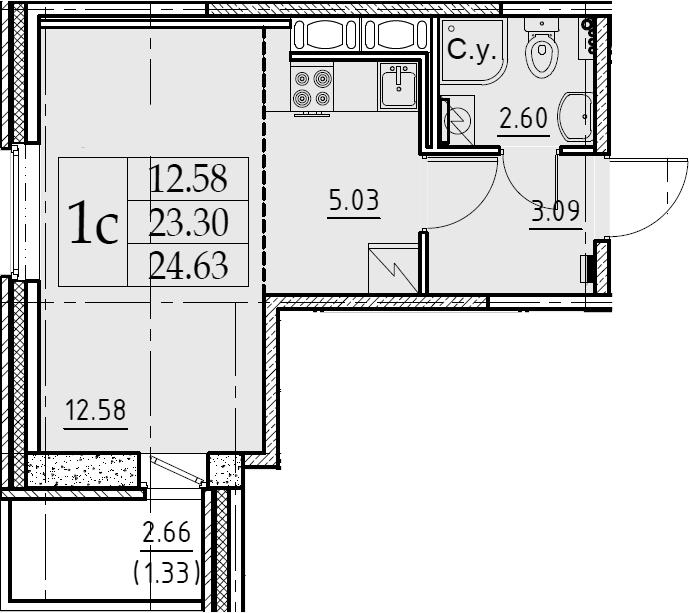 Студия, 24.63 м²– 2