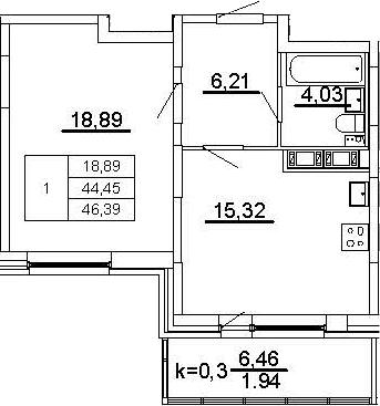 2Е-к.кв, 46.39 м²