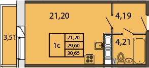 Студия, 33.04 м²