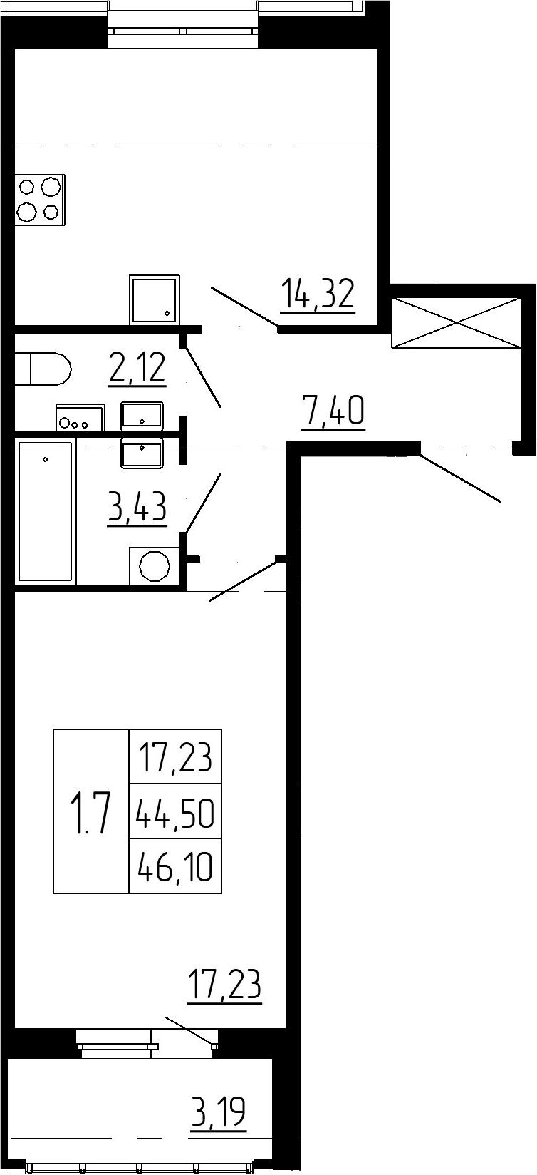 1-к.кв, 47.69 м²