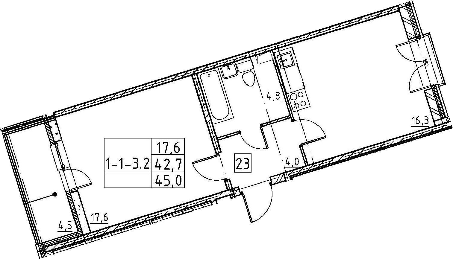 2Е-к.кв, 45 м²