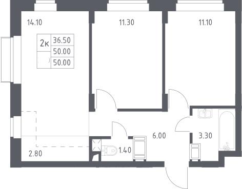 3Е-к.кв, 50 м², 6 этаж