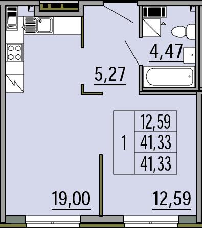 2Е-комнатная, 41.42 м²– 2