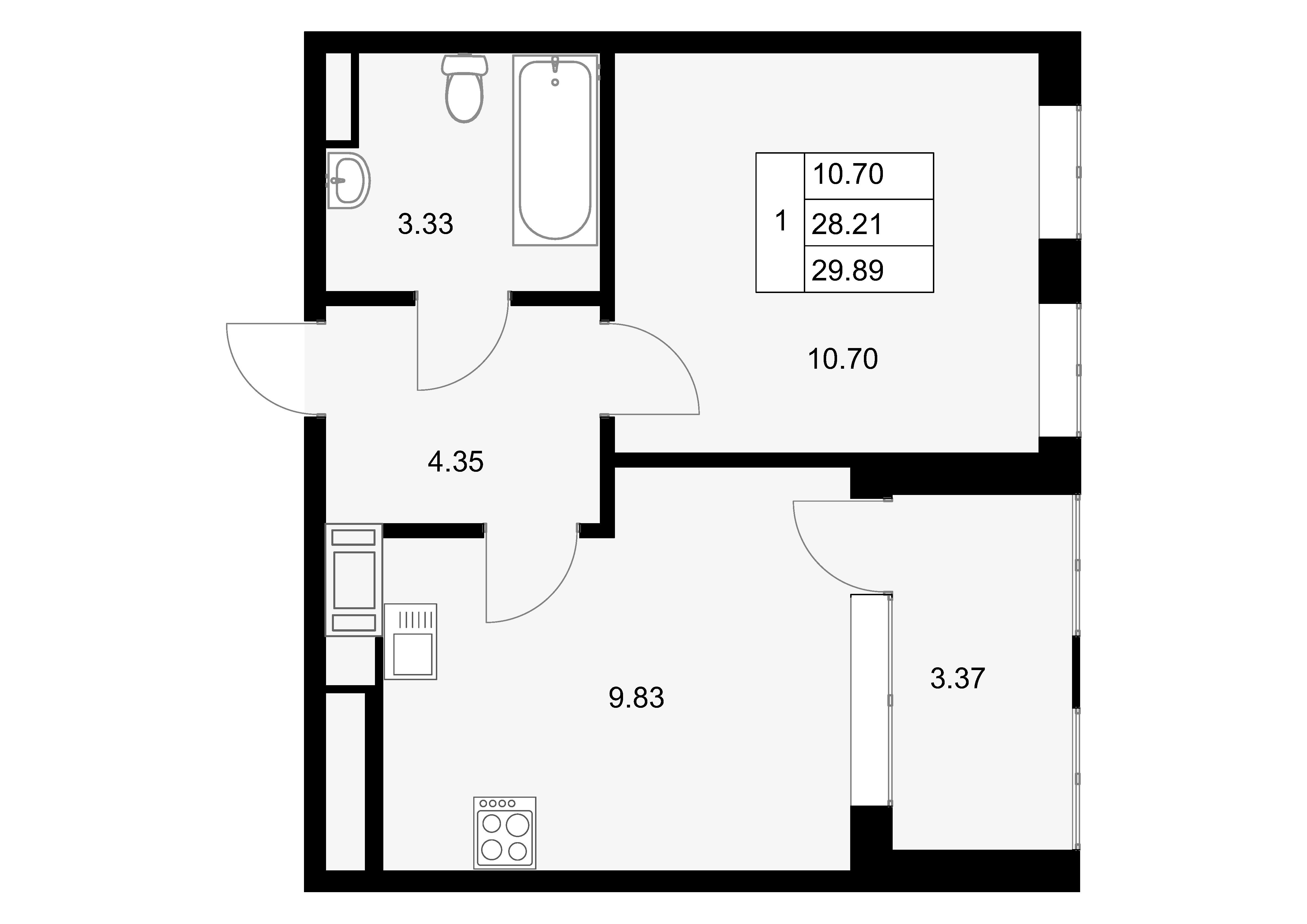 1-к.кв, 31.58 м²