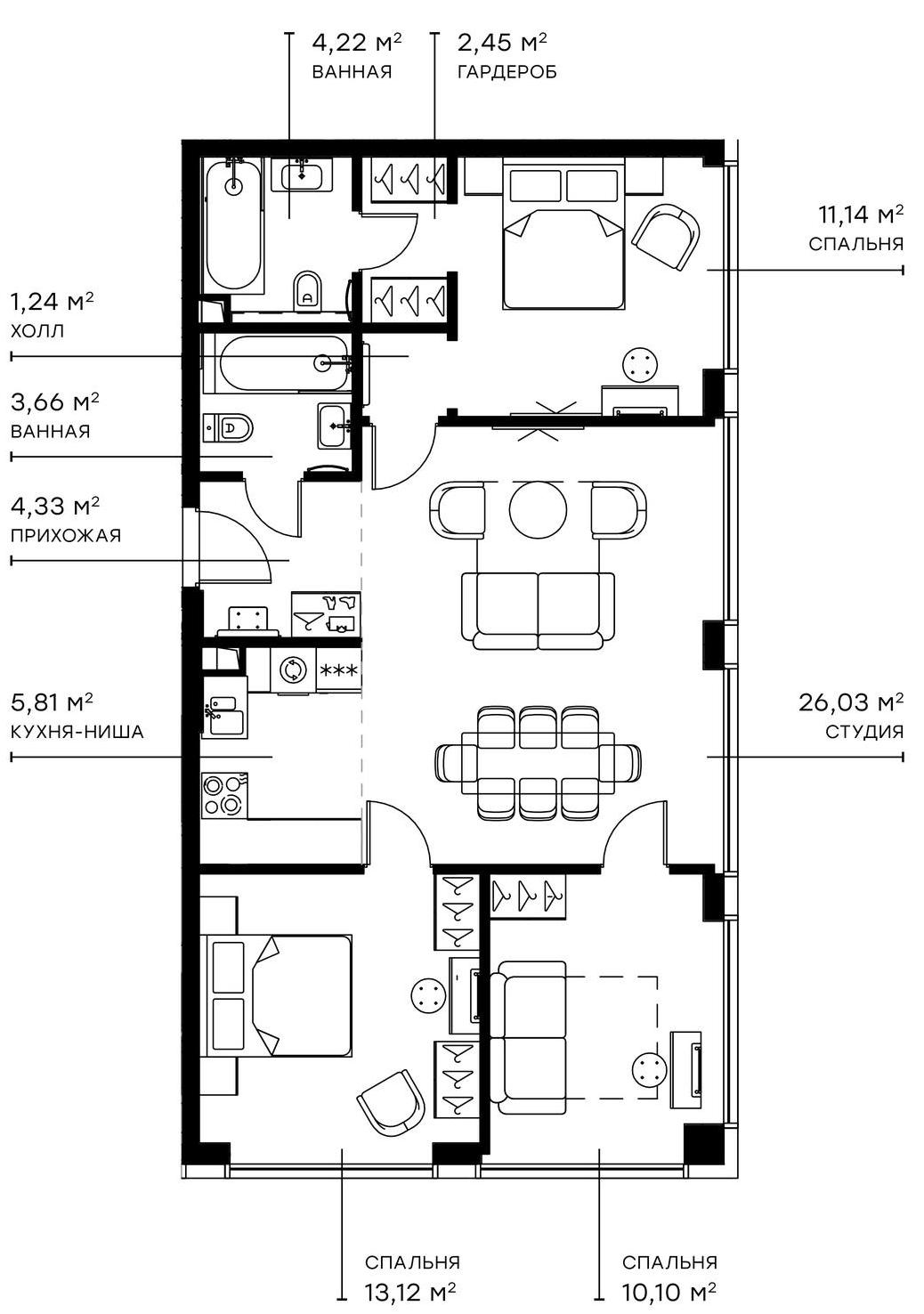 4Е-комнатная, 82.1 м²– 2