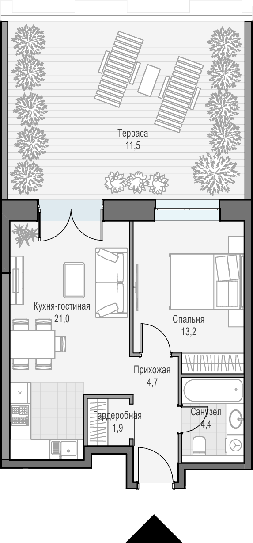 2Е-к.кв, 56.8 м²