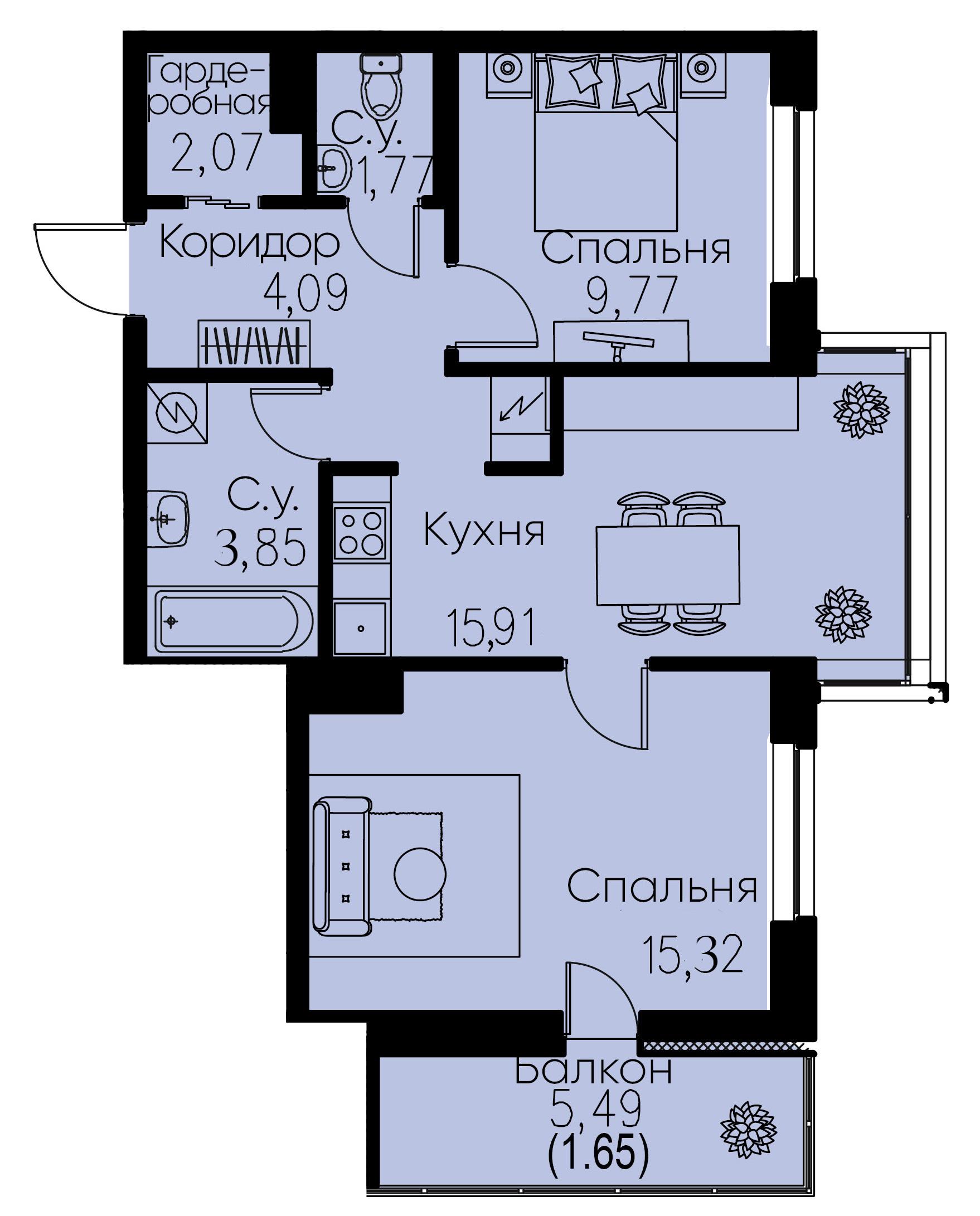 3Е-комнатная, 54.43 м²– 2