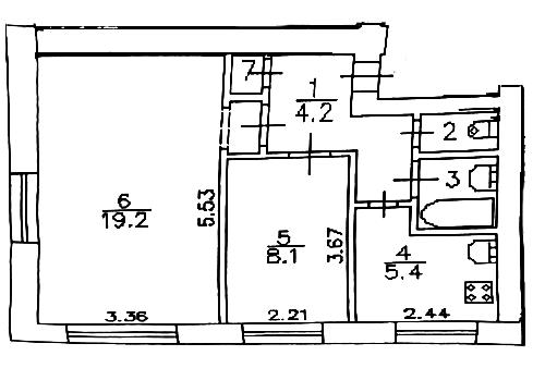 2-к.кв, 41.9 м²