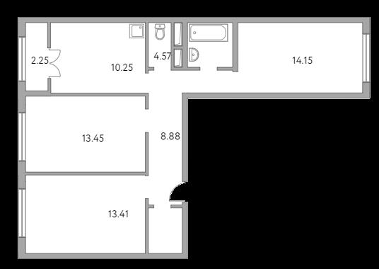 3-к.кв, 69.26 м²