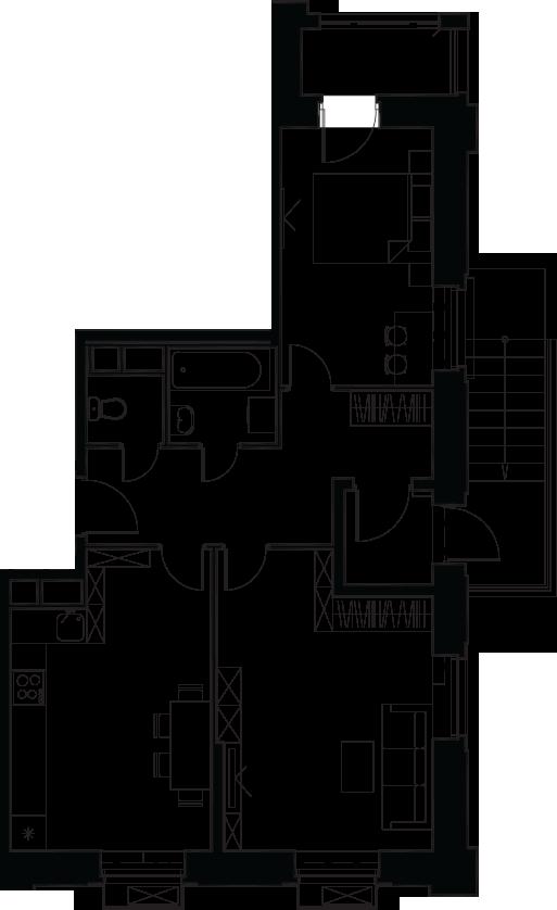 2-комнатная, 61.6 м²– 2