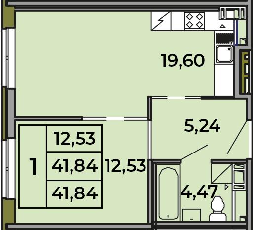 2Е-комнатная, 41.93 м²– 2