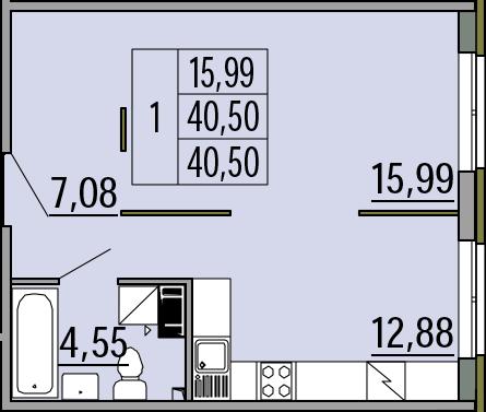 1-комнатная квартира, 40.5 м², 4 этаж – Планировка