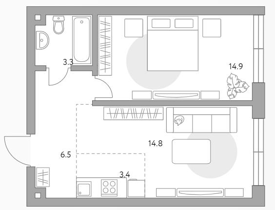 2Е-к.кв, 42.9 м²