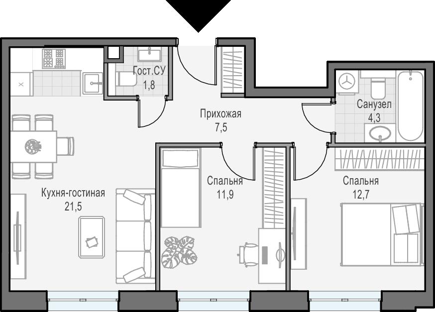 3Е-к.кв, 59.7 м²
