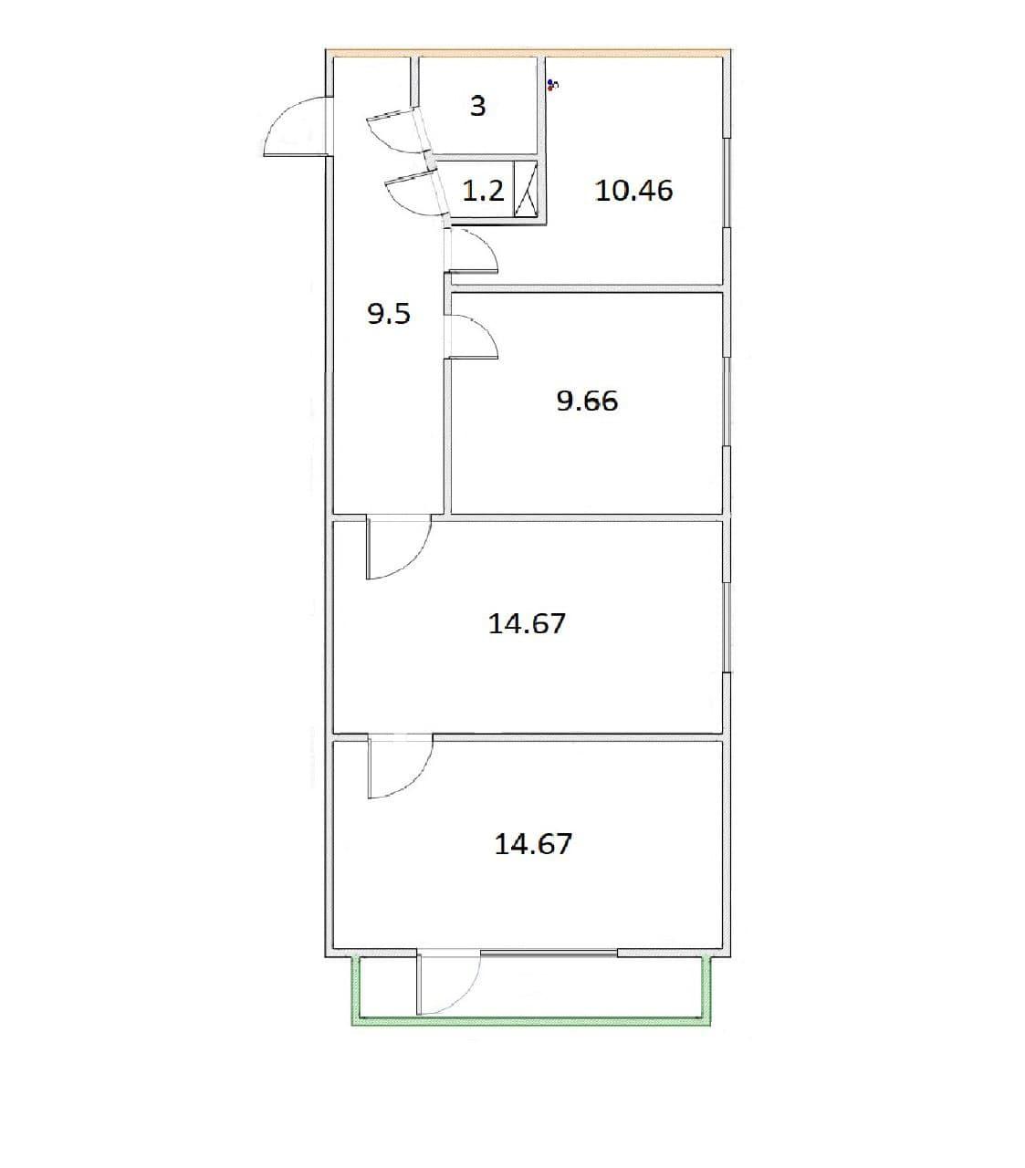 3-к.кв, 63.16 м²