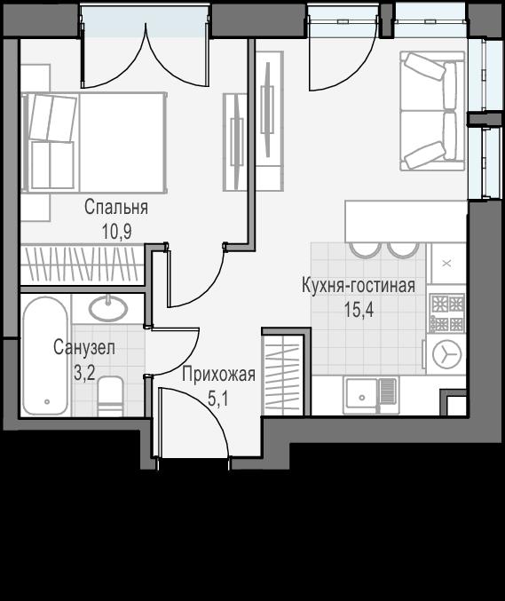 2Е-к.кв, 34.6 м², 21 этаж