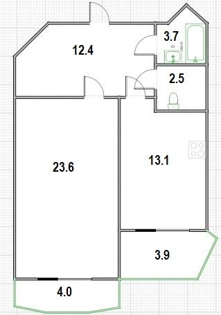 1-к.кв, 63.2 м²