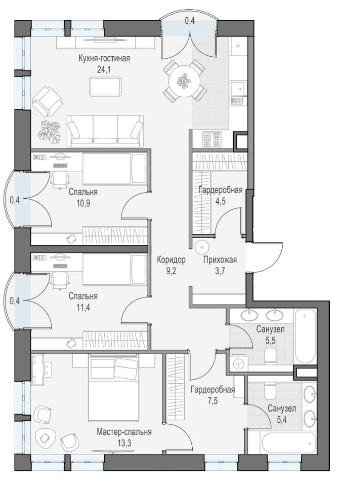 4Е-комнатная, 95.87 м²– 2