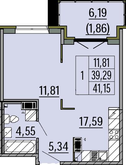 1-комнатная, 41.15 м²– 2