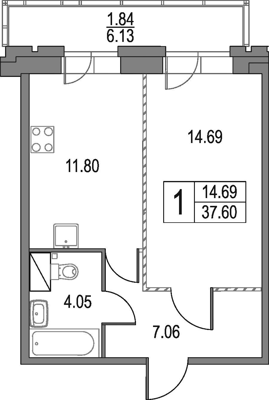 1-к.кв, 37.6 м², от 13 этажа