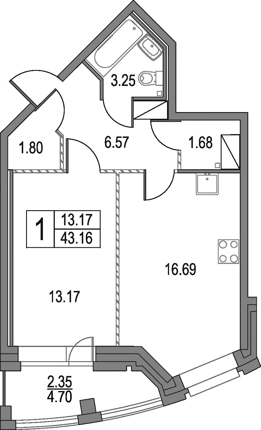 2Е-комнатная, 43.16 м²– 2