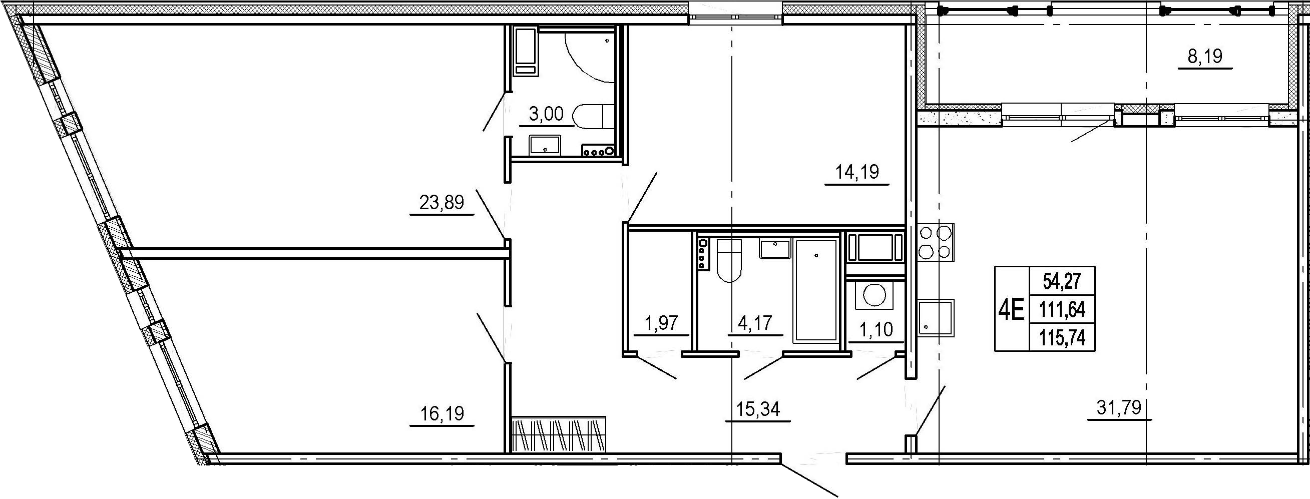 4Е-комнатная, 111.64 м²– 2