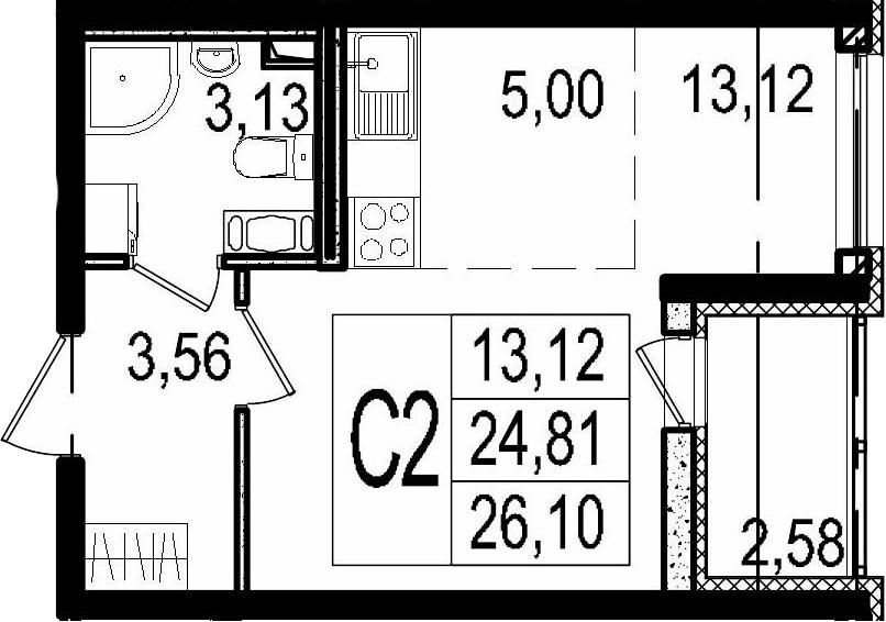 Студия, 24.81 м²– 2