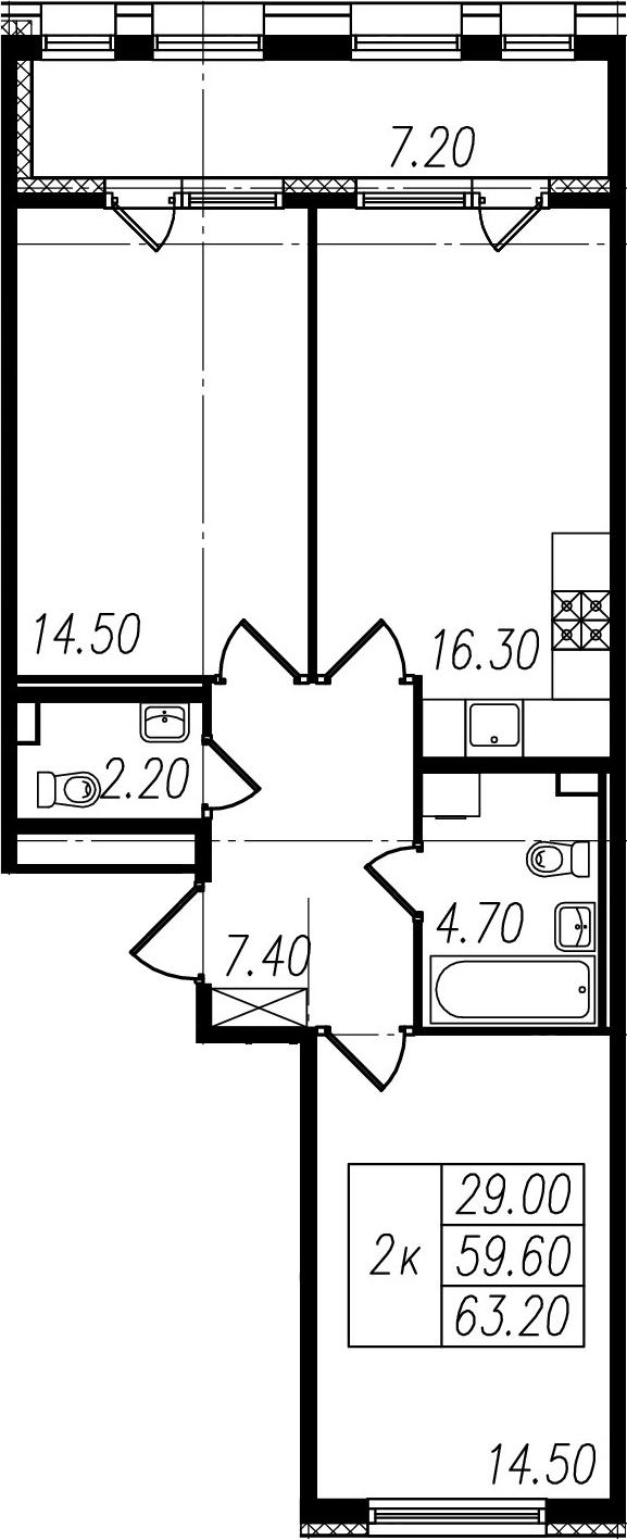 3-к.кв (евро), 66.8 м²