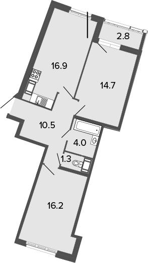 3Е-к.кв, 63.6 м², от 4 этажа