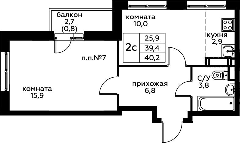 1-комнатная, 40.2 м²– 2