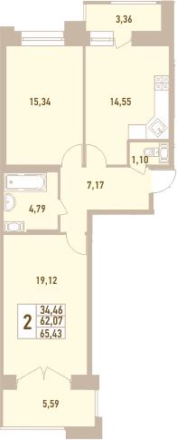 2-комнатная, 65.43 м²– 2